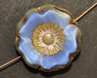 Best.Nr.:671018 Glasperlen / Table Cut Beads blau Perlettglas, Blüten geschliffen mit picasso finish