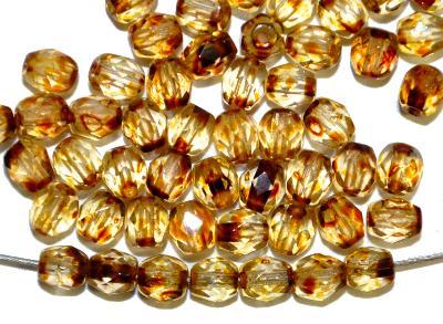 Best.Nr.:28420  facettierte Glasperlen  kristall mit picasso finish,  hergestellt in Gablonz / Tschechien