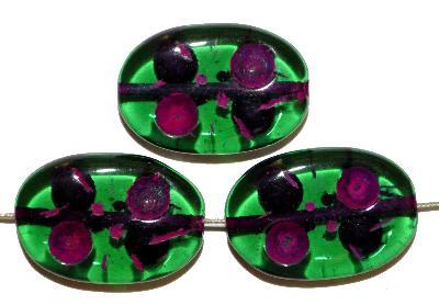 Best.Nr.:s-0026 Glasperlen hergestellt in Gablonz / Tschechien, Olive flach, grün transp. mit Farbauflage (eingebrannt)