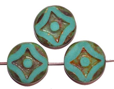 Best.Nr.:671302 Glasperlen / Table Cut Beads geschliffen  türkis opak mit picasso finish, hergestellt in Gablonz / Tschechien