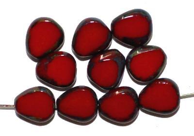 Best.Nr.:67156 Glasperlen / Table Cut Beads geschliffen  rot opak mit picasso finish, hergestellt in Gablonz / Tschechien