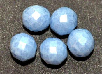 Best.Nr.:26601 facettierte Glasperlen light blue speckled finish, hergestellt in Gablonz / Tschechien