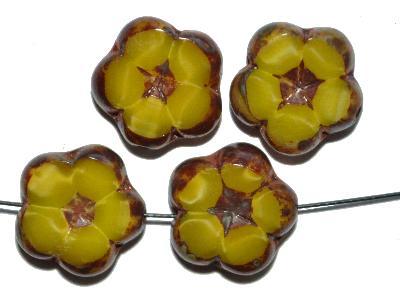 Best.Nr.:67919 Glasperlen / Table Cut Beads,  Perlettglas gelb,  geschliffen mit picasso finish
