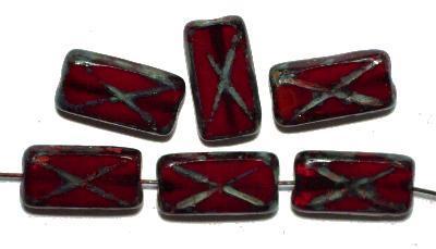 Best.Nr.:671002 Glasperlen / Table Cut Beads, alabaster rot, geschliffen mit picasso finish