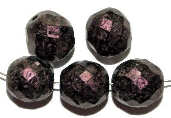 Best.Nr.:28092 facettierte Glasperlen  mit aubergine metallic finish