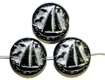 Best.Nr.:59236 Vintagestyle Glasperlen  schwarz opak mit Silberauflage,  nach alten Vorlagen aus den 1940/50 Jahren neu gefertigt in Gablonz / Tschechien