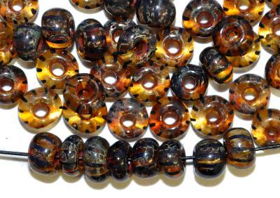 Best.Nr.:08081 Rocailles von Preciosa Ornella Tschechien,  kristall gestreift mit picasso finish