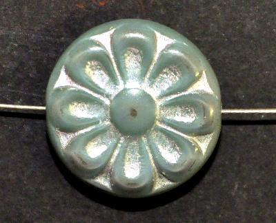 Best.Nr.:59213 vintage style Glasperlen, mit eingeprägter Blütenmandala, mint mit silber finish nach alten Vorlagen aus den 1930 Jahren in Gablonz/Böhmen neu gefertigt,