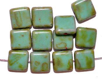 Best.Nr.:49361 Glasperlen Quadrate  türkisgrün mit picasso finish