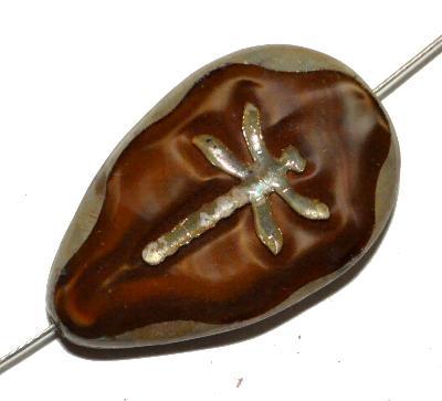 Best.Nr.:671208 Glasperlen / Table Cut Beads braun opak mit eingeprägter Libelle, geschliffen mit picasso finish