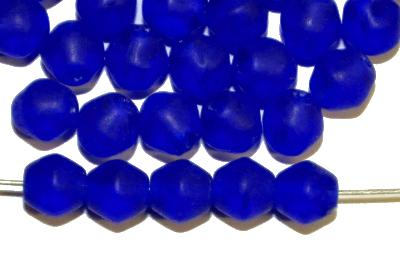 Best.Nr.:53007 Glasperlen Doppelkegel,  dunkelblau transp. mattiert, hergestellt in Gablonz / Tschechien