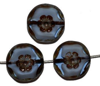 Best.Nr.:67829 Glasperlen geschliffen / Table Cut Beads, blau weiß, mit eingepägtem Blütenornament, und picasso finish