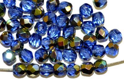 Best.Nr.:28419 facettierte Glasperlen  blau transp. mit metallic finish,  hergestellt in Gablonz / Tschechien