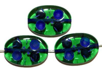 Best.Nr.:s-0025 Glasperlen hergestellt in Gablonz / Tschechien, Olive flach, grün transp. mit Farbauflage (eingebrannt)