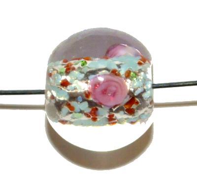 Best.Nr.:45032 hochwertige Lampenperle handgefertigt in einer kleinen Manufaktur in Gablonz /Böhmen mit eingearbeiteter Silberfolie
