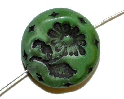 Best.Nr.:59093 vintage style Glasperlen, Perlettglas dunkelgrün seidenmatt mit eingeprägter Blüte ,  nach alten Vorlagen aus den 1930 Jahren in Gablonz/Böhmen neu gefertigt,
