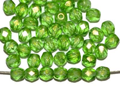 Best.Nr.:24151 facettierte Glasperlen mit Wachsüberzug grün, hergestellt in Gablonz / Böhmen,