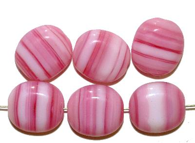 Best.Nr.:46350 Glasperlen Olive flach, hergestellt in Gablonz / Tschechien, rosa weiß meliert
