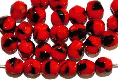 Best.Nr.:26154 facettierte Glasperlen, rot schwarz meliert, hergestellt in Gablonz / Tschechien,