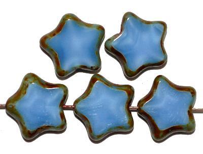 Best.Nr.:671344 Glasperlen / Table Cut Beads geschliffen Perlettglas mittelblau mit picasso finish, hergestellt in Gablonz / Tschechien