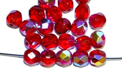 Best.Nr.:28166 facettierte Glasperlen  rot mit AB, hergestellt in Gablonz / Tschechien