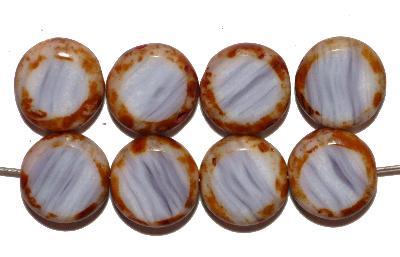 Best.Nr.:671328 Glasperlen / Table Cut Beads geschliffen, violett weiß meliert, mit picasso finish