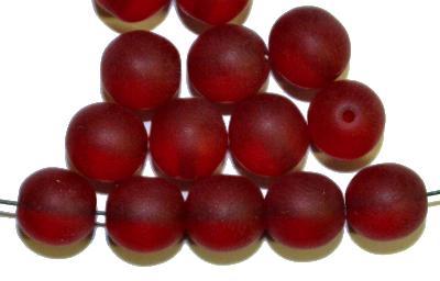 Best.Nr.:41081 Glasperlen rund, rot transp. mattiert (frostet), hergestellt in Gablonz / Tschechien,