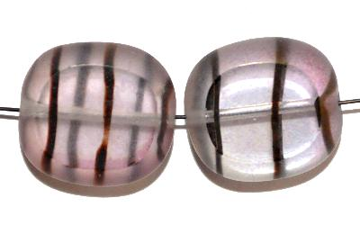 Best.Nr.:671392 Glasperlen / Table Cut Beads Olive geschliffen kristall hellviolett, gestreift, Rand mattiert, Hergestellt in Gablonz / Böhmen