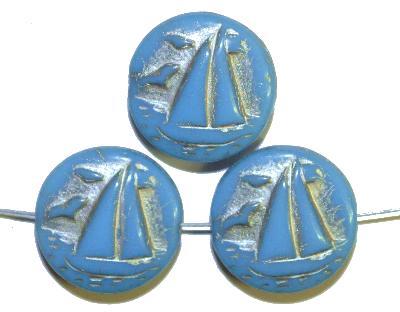 Best.Nr.:59235 Vintagestyle Glasperlen  hellblau opak mit Silberauflage,  nach alten Vorlagen aus den 1940/50 Jahren neu gefertigt in Gablonz / Tschechien