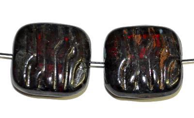 Best.Nr.:671387 Glasperlen / Table Cut Beads  geschliffen, granatrot transp. mit picasso finish, hergestellt in Gablonz / Tschechien