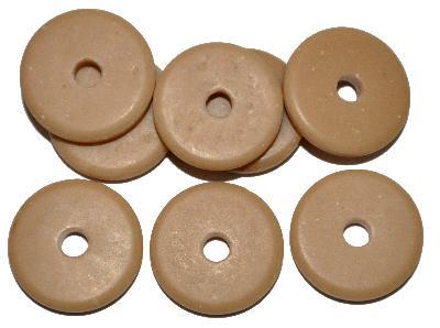 Best.Nr.:63898 Glasperlen Scheiben, beigebraun opak, in den 1930/40 Jahren in Gablonz/Böhmen hergestellt, (Prosserbeads)