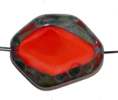 Best.Nr.:671341 Glasperlen geschliffen / Table Cut Beads, Hergestellt in Gablonz / Böhmen, rot opak, mit picasso finish