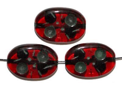 Best.Nr.:s-0006 Glasperlen hergestellt in Gablonz / Tschechien, Olive flach, rot transp. mit Farbauflage (eingebrannt)
