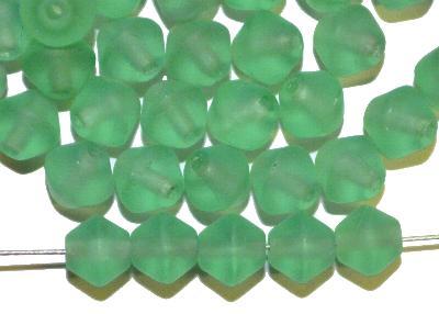 Best.Nr.:53008 Glasperlen Doppelkegel, russischgrün transp. mattiert, hergestellt in Gablonz / Tschechien