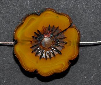 Best.Nr.:671289 Glasperlen / Table Cut Beads amber , Blüten geschliffen mit picasso finish
