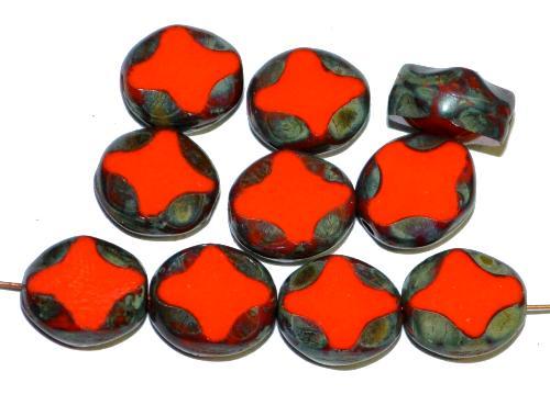 Best.Nr.:671441 Glasperlen / Table Cut Beads  geschliffen, orangerot opak mit picasso finish,  hergestellt in Gablonz Tschechien