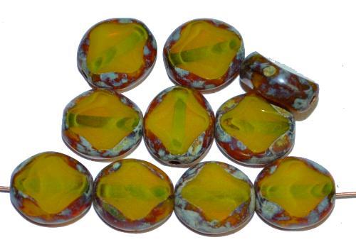 Best.Nr.:67974 Glasperlen / Table Cut Beads geschliffen, Perlett oliv mit picasso finish, hergestellt in Gablonz Tschechien