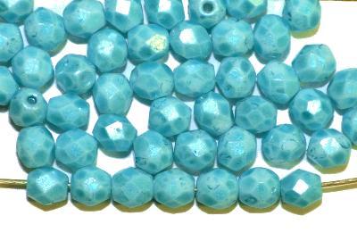 Best.Nr.:26354 facettierte Glasperlen  türkis speckled finish, hergestellt in Gablonz / Tschechien