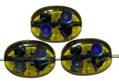 Best.Nr.:s-0022 Glasperlen hergestellt in Gablonz / Tschechien, Olive flach, oliv transp. mit Farbauflage (eingebrannt)