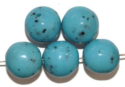 Best.Nr.:63850 Glasperlen rund, in den 1930/40 Jahren in Gablonz/Böhmen hergestellt, türkis (Prosserbeads)