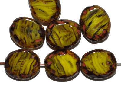 Best.Nr.:671213 Glasperlen / Table Cut Beads, olivgelb, geschliffen mit picasso finish