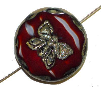 Best.Nr.:671280 Glasperlen / Table Cut Beads rot weiß opak, mit eingeprägtem Schmetterling, geschliffen mit picasso finish