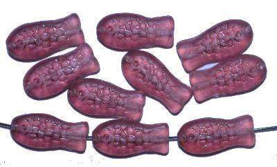 Best.Nr.:51082 Glasperlen, ein Schwarm violetter Fischchen mattiert (frostet),  hergestellt in Gablonz / Tschechien Vorder-und Rückseite geprägt