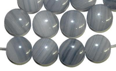 Best.Nr.:47024 Glasperlen Linse, blaugrau marmoriert, hergestellt in Gablonz / Tschechien