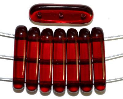 Best.Nr.:79014 Glasperlen mit 3 Löchern,  granatrot transparent,  hergestellt in Gablonz / Tschechien
