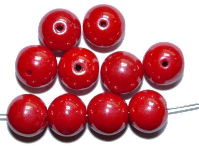 Best.Nr.:63833 Glasperlen in den 1930/40 Jahren in Gablonz/Böhmen hergestellt, rot opak mit lüster, (nur noch wenige auf Lager)