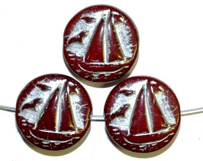 Best.Nr.:59234 Vintagestyle Glasperlen  rotbraun opak mit Silberauflage,  nach alten Vorlagen aus den 1940/50 Jahren neu gefertigt in Gablonz / Tschechien