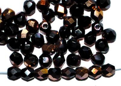 Best.Nr.:28377 facettierte Glasperlen,  schwarz mit messing metallic finish,  hergestellt in Gablonz / Böhmen