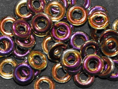 Best.Nr.:0031 Glasperlen Ringe, Spacer, mit metallic Veredelung, hergestellt in Gablonz / Tschechien