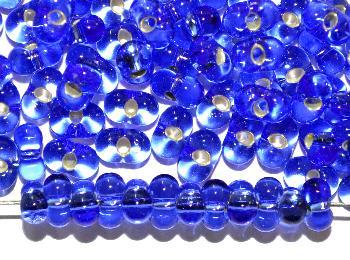 Best.Nr.:00803 Farfalle Rocailles von Ornella Preciosa Tschechien blau transp. mit Silbereinzug